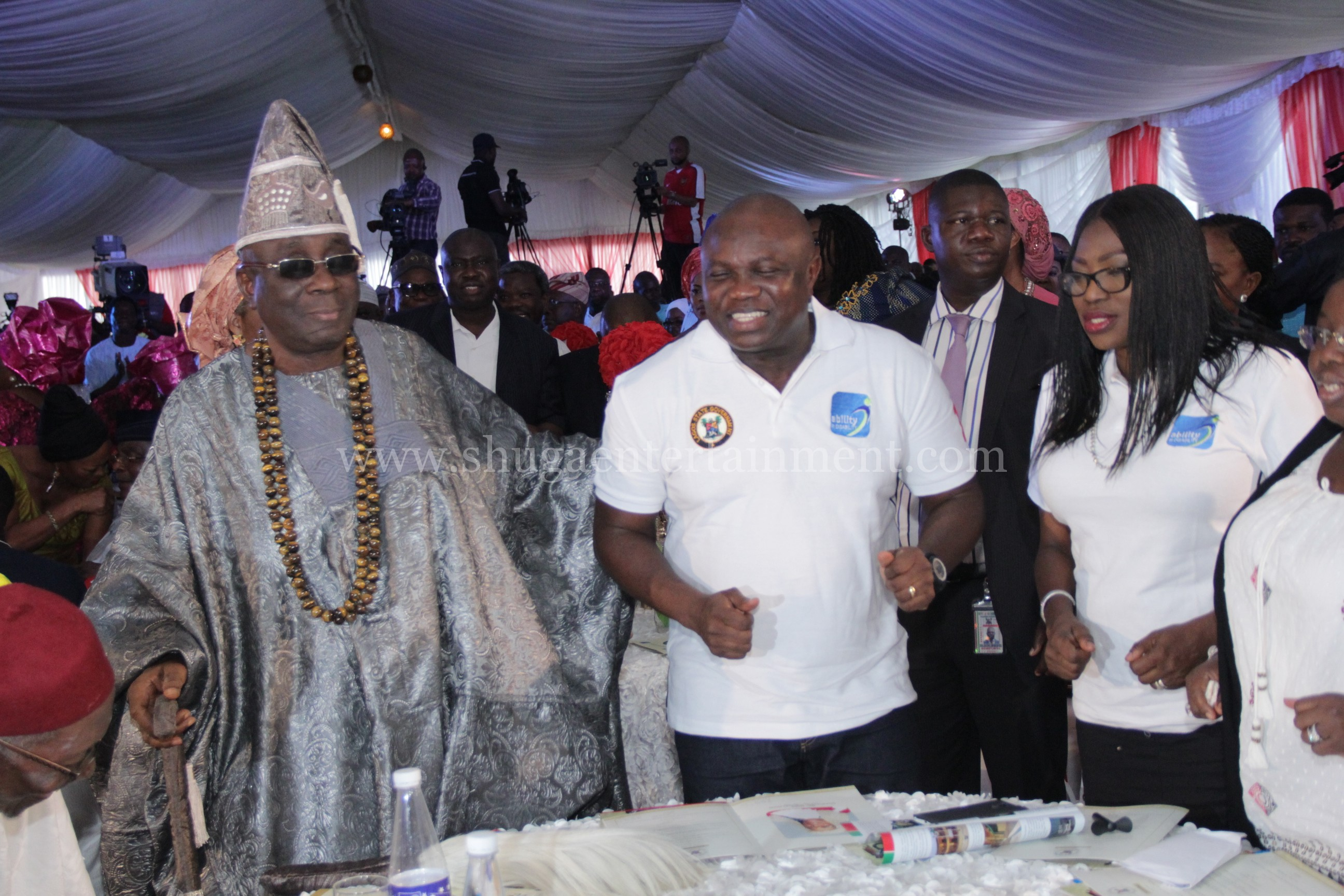 Shuga band-Top dignitaries - The Oba of Lagos- Oba Rilwan Akiolu, Gov. Akinwumi Ambode (Governor of Lagos), Mrs. Bolanle Ambode &